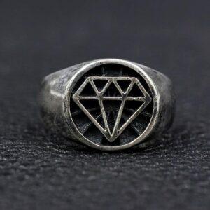 Sterling Silver Diamond Pattern Ring