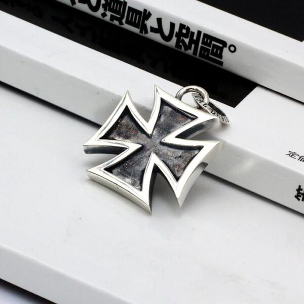 Sterling Silver Iron Cross Pendant Necklace