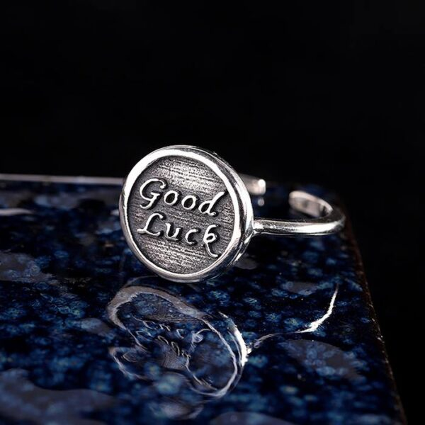 Sterling Silver Minimalist Good Luck Cuff Ring