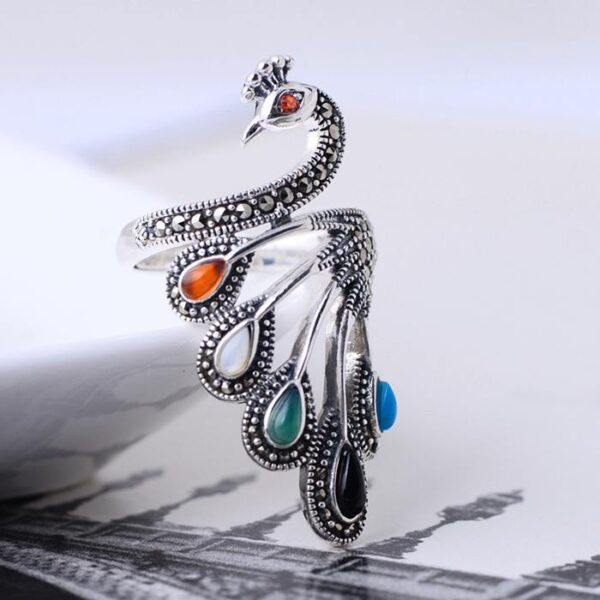 Sterling Silver Pave Cluster Peacock Ring
