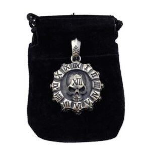 Sterling Silver Roman Numeral Skulls Pendant Necklace