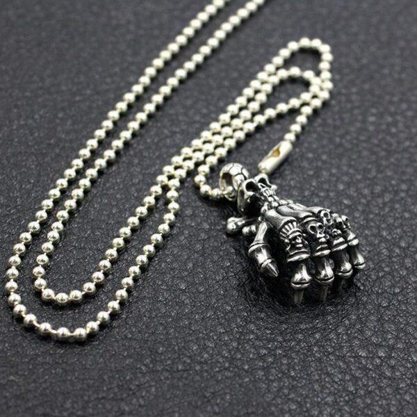 Sterling Silver 'Skeleton Hand' w/Skull Pendant Necklace