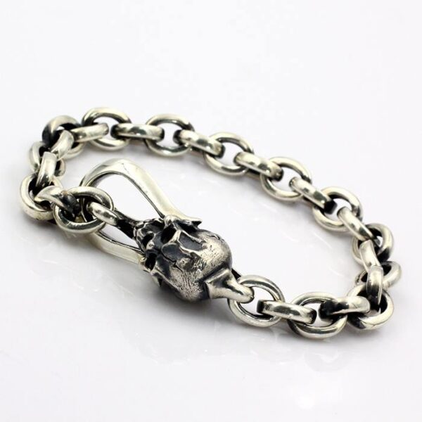Sterling Silver Skull Anchor Link Chain Bracelet