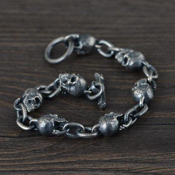 Sterling Silver Skull & Chain Link Bracelet