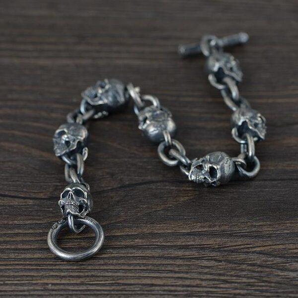 Sterling Silver Skull Chain Link Bracelet