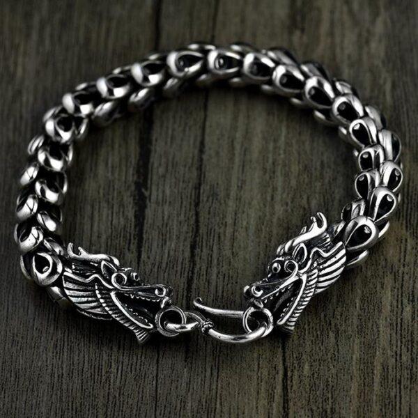 Sterling Silver Wide Double Headed Dragon Bracelet
