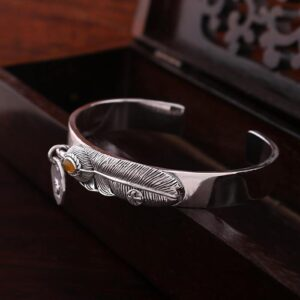 Strerling Silver Yellow Carneol Feather Bangle Bracelet