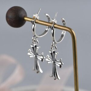 Womens Sterling Silver Cross Earring