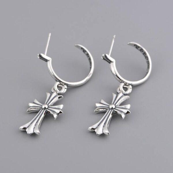 Womens Sterling Silver Cross Earring