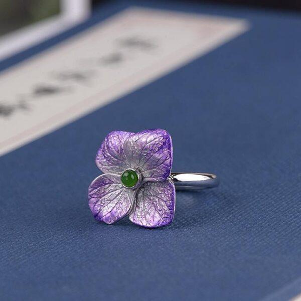 Womens Sterling Silver Enameling Jasper Flower Ring