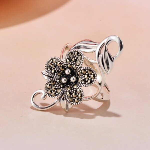 Sterling Sliver Flower Cocktail Ring