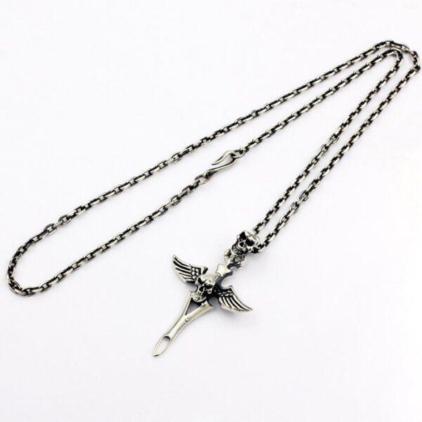 Angel Wings Skull Pendant Necklace