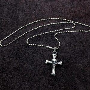 Cross Bones Skull Pendant Necklace