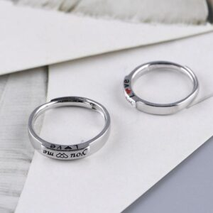His And Hers Sterling Silver Couple Promise Rings Set