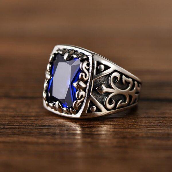 Sapphire Sterling Silver Fleur De Lis Ring