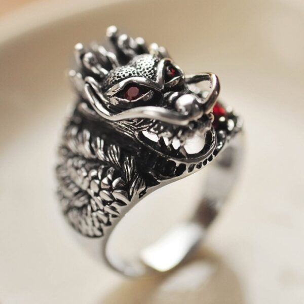 Sterling Silver China Dragon Ring