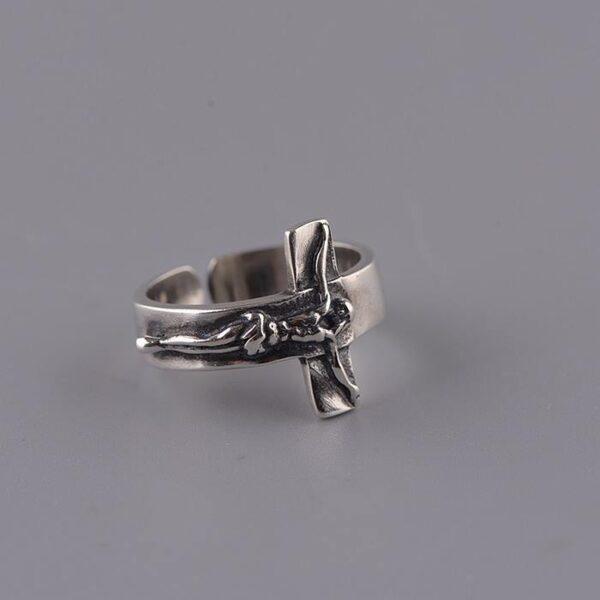 Sterling Silver Crucifix Sideways Cross Ring