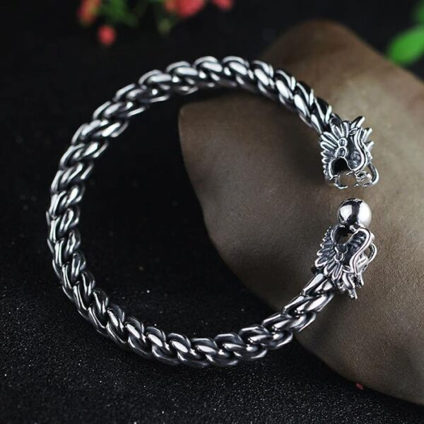 Sterling Silver Double Dragon Head Cable Cuff Bracelet