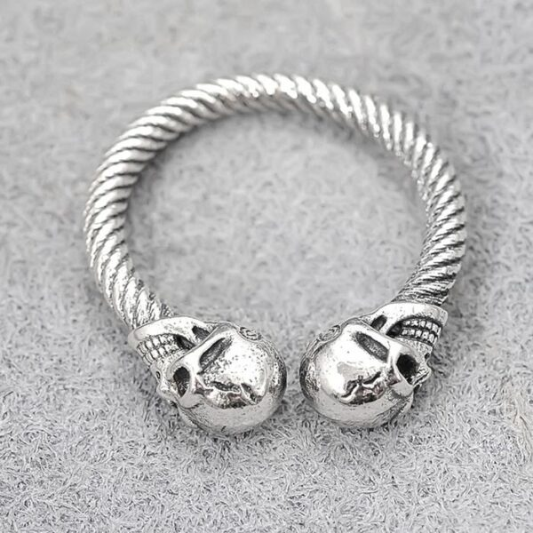 Sterling Silver Double Skull Cable Cuff Ring