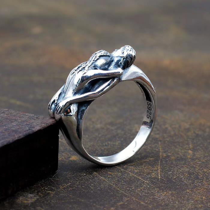 Valentines ring Embrace love and care couple ring Rude unique jewellery