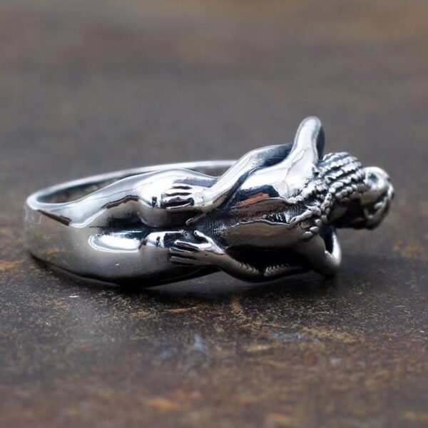 Sterling Silver Embrace Love And Care Naked Couple Ring
