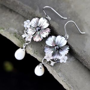 Sterling Silver Plum Blossom Pearl Earrings