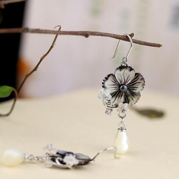Sterling Silver Plum Blossom Pearl Earrings