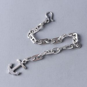 Womens Sterling Silver Anchor Bracelet