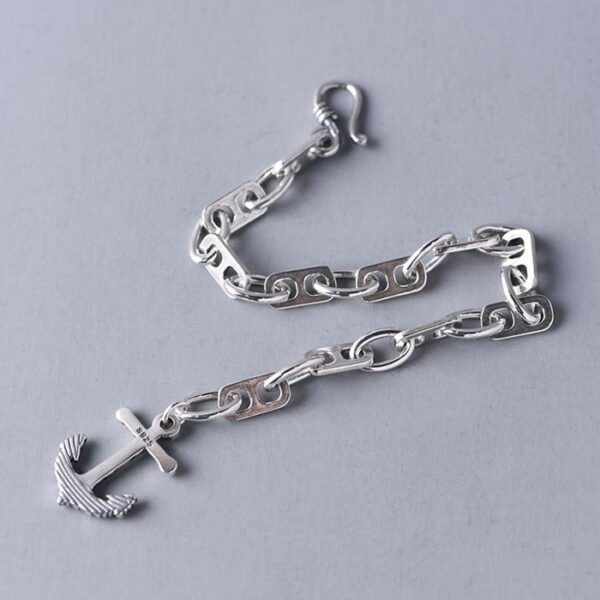 Womens Sterling Silver Anchor Bracelet