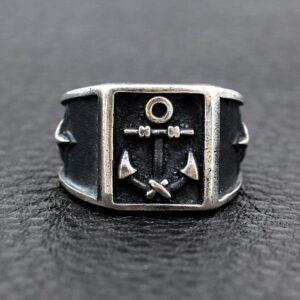 Black Sterling Silver Polaris Anchor Ring