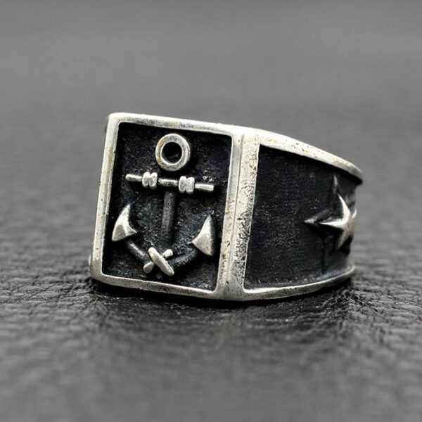 Black Sterling Silver Polaris Anchor Ring