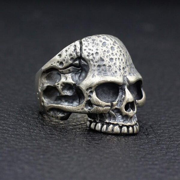 Handmade Sterling Silver Half Jaw Skull Ring