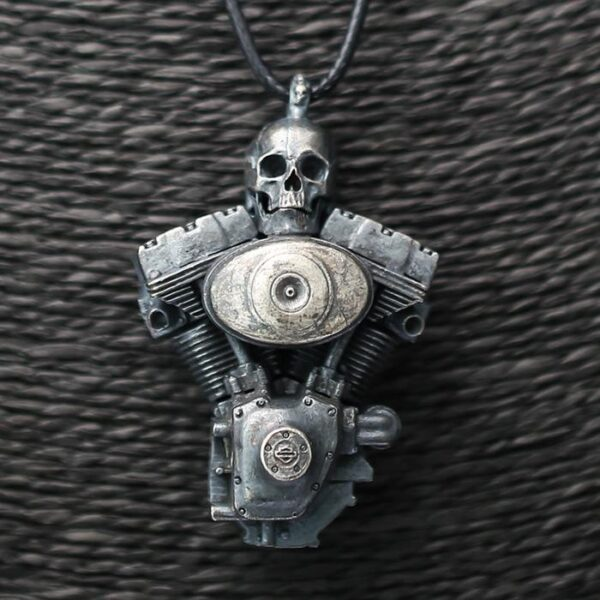 Sterling Silver Engine Skull Pendant