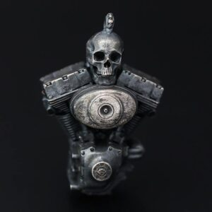 Sterling Silver Engine Skull Pendant