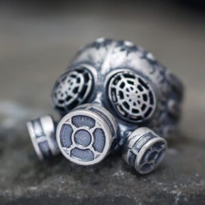 Men's Sterling Silver Gas Mask Ring