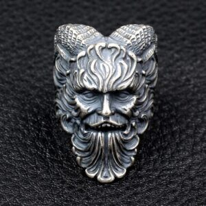 Mens Sterling Silver Greek Mythology Shepherd Pan Ring