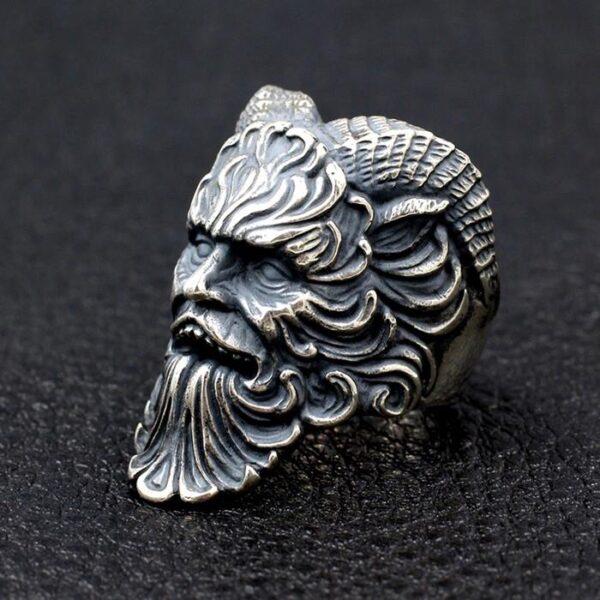 Mens Sterling Silver Greek Mythology Shepherd Pan Ring