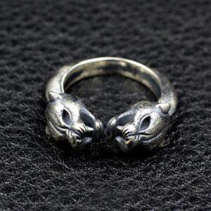 Sterling Silver Double Leopard Head Ring