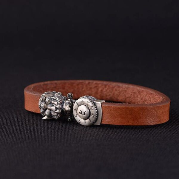 Sterling Silver Dragon Head Leather Bracelet