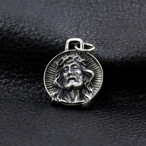 Sterling Silver Jesus Round Pendant Charm Necklace