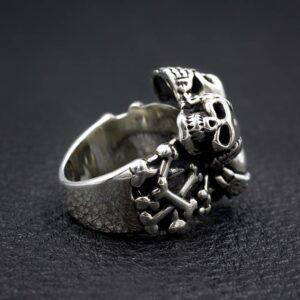 Sterling Silver Three Skulls Ring