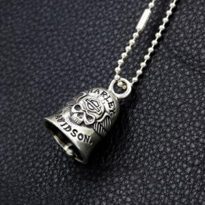 Sterling Silver Wings Skull Bell Pendant Necklace