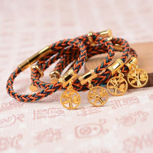 Tree of Life Woven Leather Bracelet
