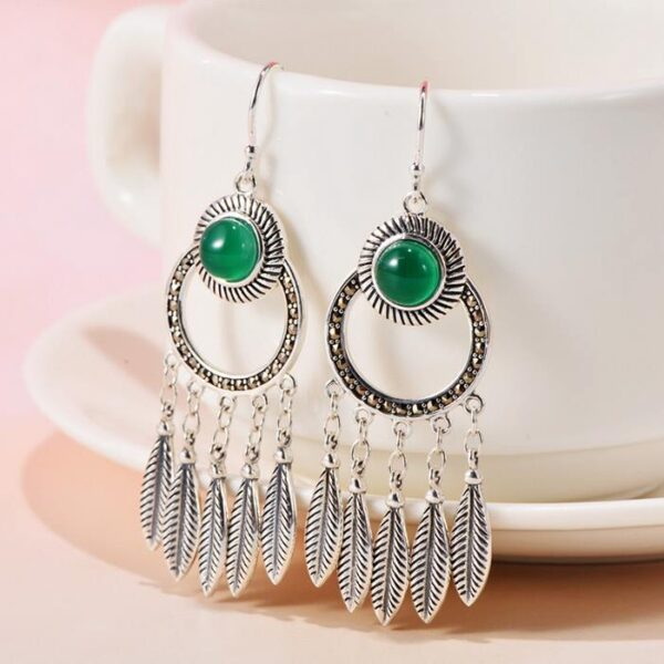 Womens Sterling Silver Agate Chalcedony Feather Drop Earrings