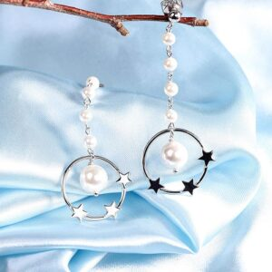 Circle Pearl Star Long Drop Earrings