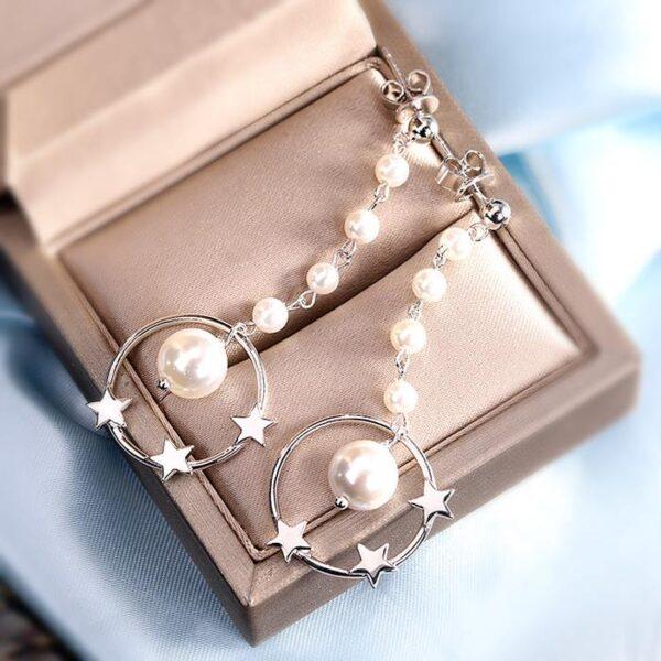 Circle Pearl Star Long Drop Earrings