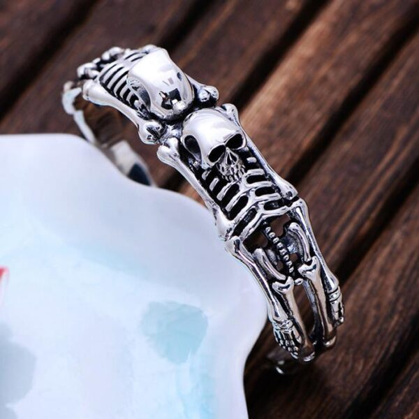 Double Skeleton Skull Cuff Bracelet