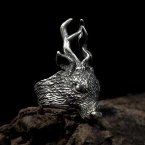 Fine Silver Deer Head Ring