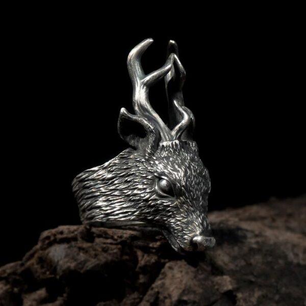Fine Silver Deer Head Ring