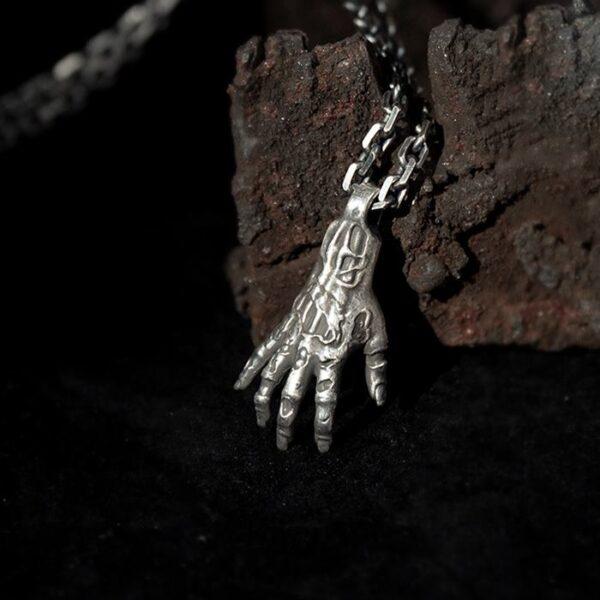 Fine Silver Gothic Hand Pendant Necklace